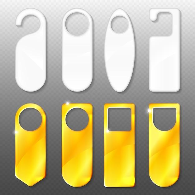Дверные вешалки из золота и пластика. Бесплатные векторы