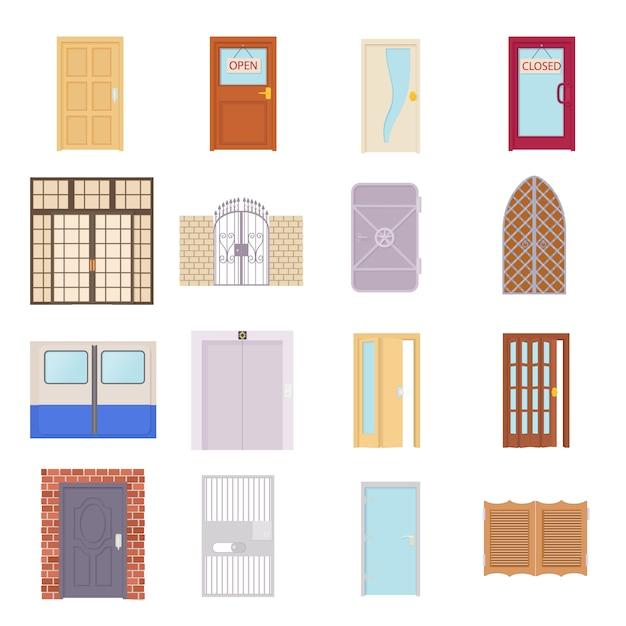 Door icons set in cartoon style vector Premium Vector