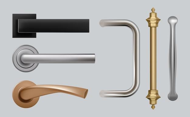 Дверные ручки. современные детализированные качественные фотографии стальных металлических ручек для мебели. Premium векторы