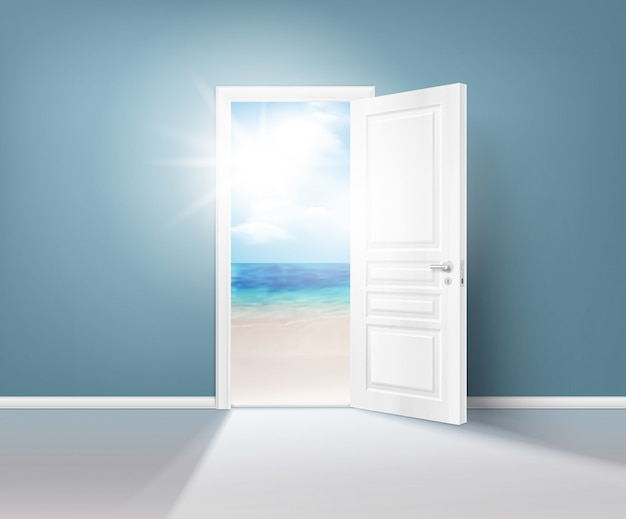 Doors nature realistic composition Free Vector