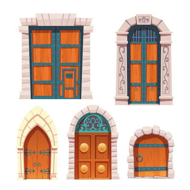 Doors set, wooden and stone medieval entries. Free Vector