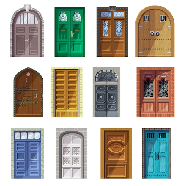 Doors vector vintage castle doorway front entrance indoor house interior illustration set of historic building antique entry doorpost doorsill and medieval gate isolated icon set Premium Vector