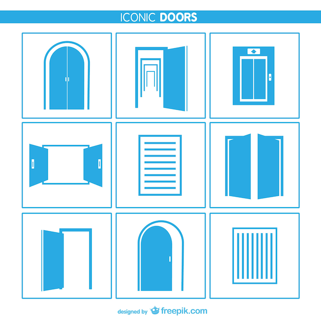Doors and windows icons Free Vector