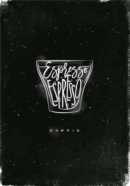 Кубок doppio с надписью эспрессо в винтажном графическом стиле, рисунок мелом на фоне классной доски Premium векторы