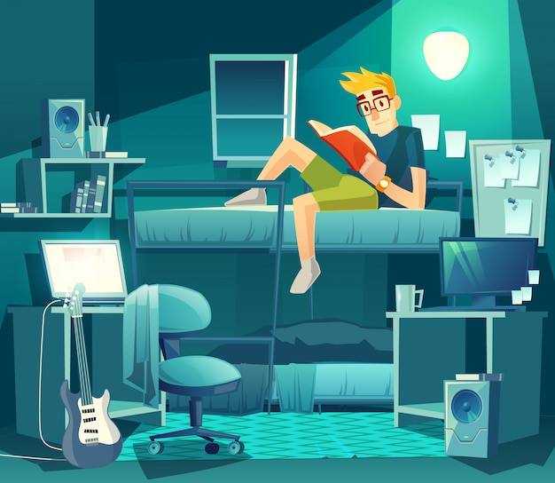 Dormitory room at night. roommate on the bunk with lamp light, exam preparation Free Vector