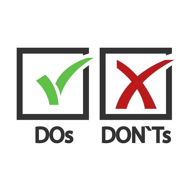 すべきこととすべきでないことはい、いいえの図。 Premiumベクター
