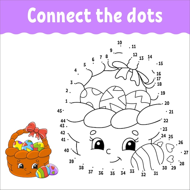 Dot to dot game. draw a line. for kids. activity worksheet. coloring book. Premium Vector