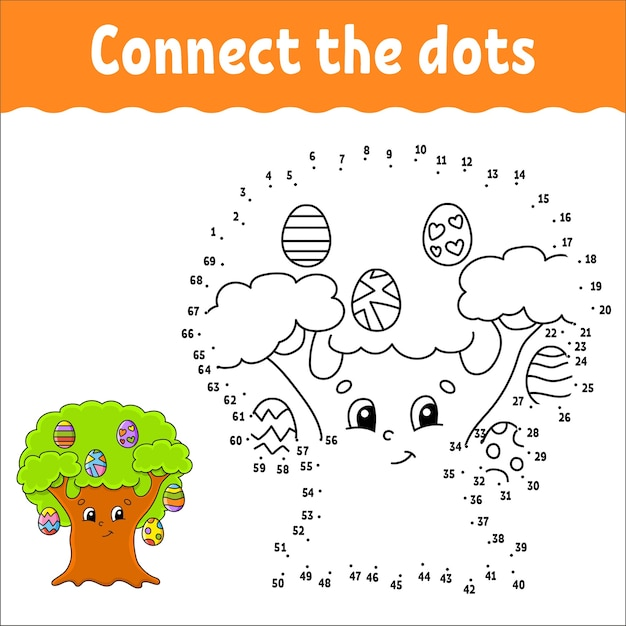Dot to dot game. draw a line. for kids. activity worksheet. Premium Vector