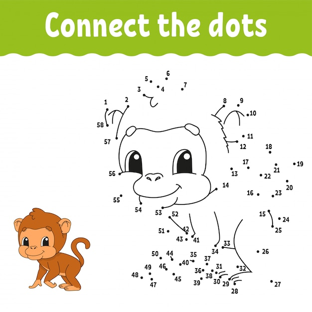Dot to dot monkey draw Premium Vector