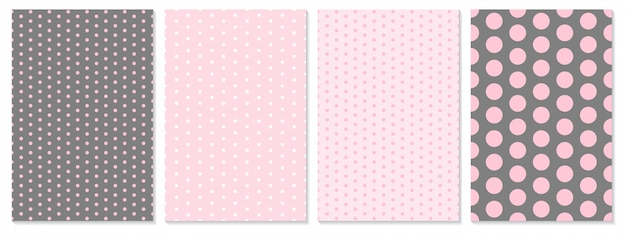ドットパターンセット。赤ちゃんの背景。ピンク色。図。水玉柄。 Premiumベクター