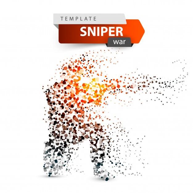 Dot sniper illustration. military shoots a rifle. Premium Vector
