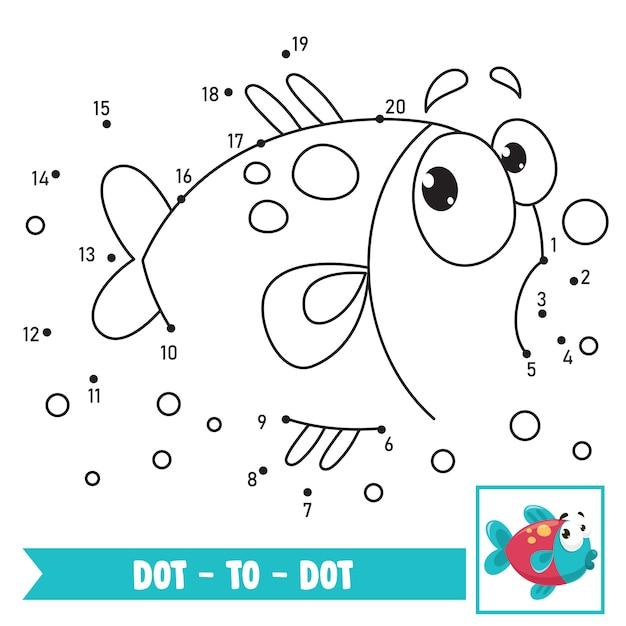 Dot to dot иллюстрация игры для детей образование Premium векторы