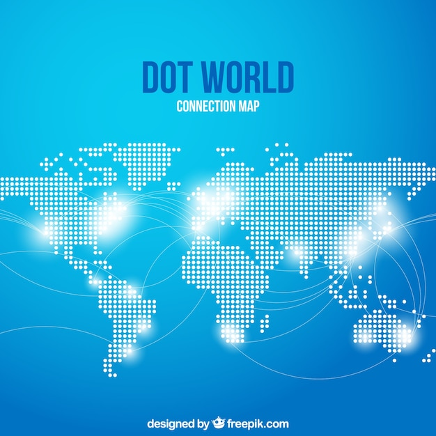 Dot world conection map with blue background Vector | Free Download