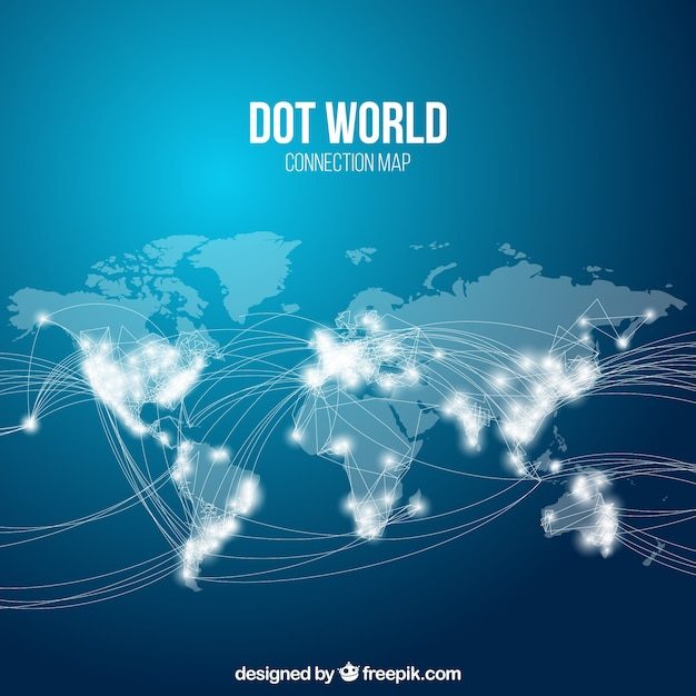 Dotted world map vectors photos and psd files free download dot world map connection gumiabroncs Gallery
