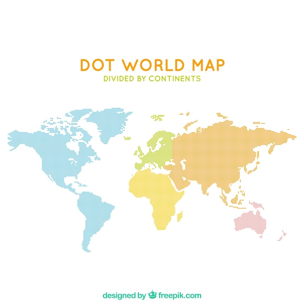 Dotted world map vectors photos and psd files free download dot world map divided by continents gumiabroncs Choice Image