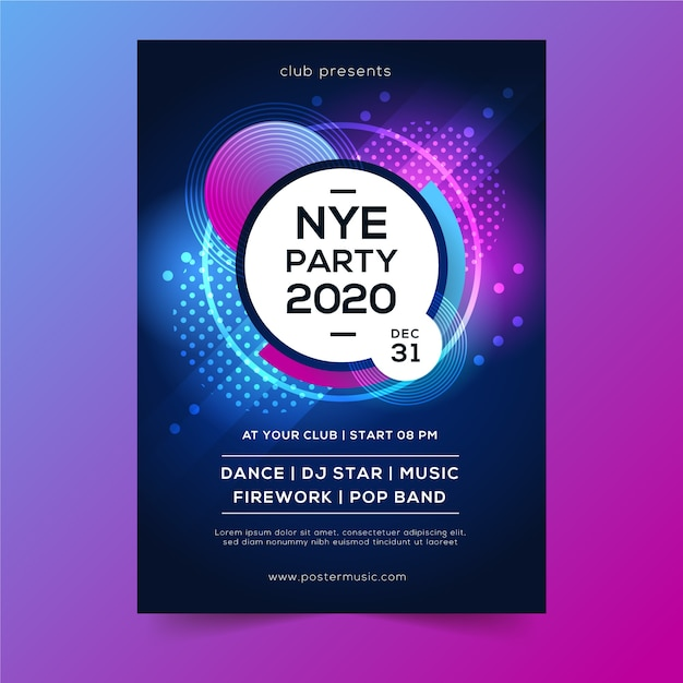 Dots and bubbles abstract new year 2020 poster Free Vector