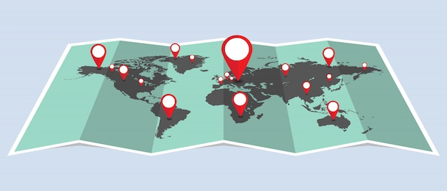 Dots world map with pins illustration. dots that indicate location on map Premium Vector