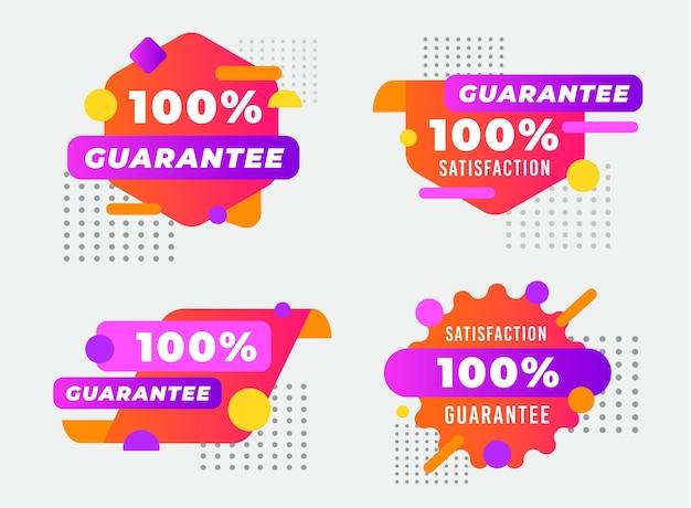 点線の100%保証ラベルコレクション Premiumベクター