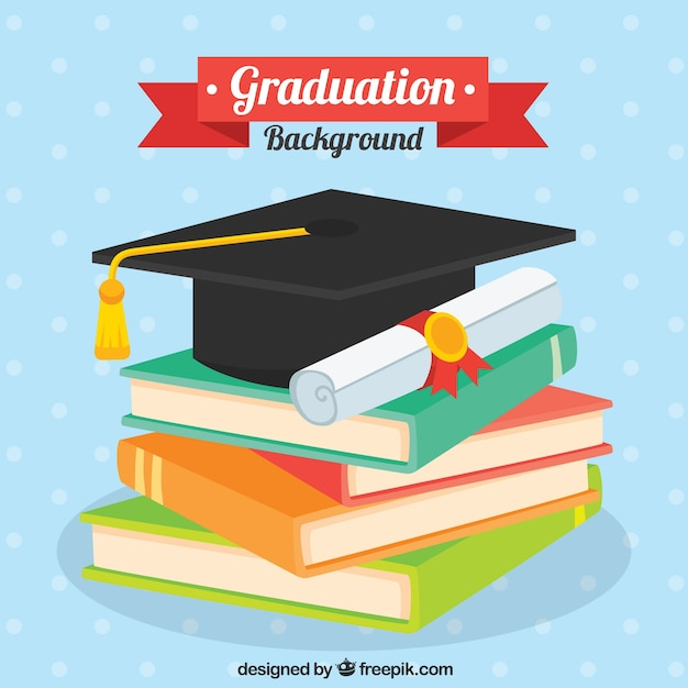 Dotted background with books and graduation elements in flat design Free Vector