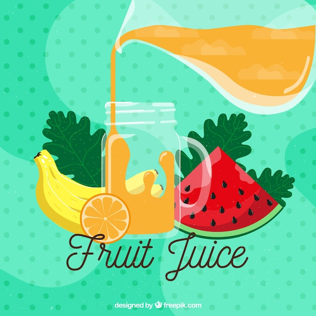 Dotted background with fresh fruit juice Free Vector