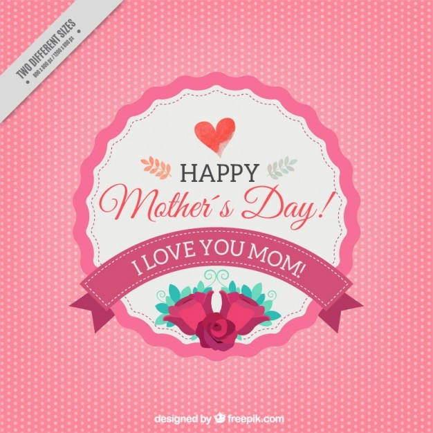 Dotted background with mother\'s day\ badge