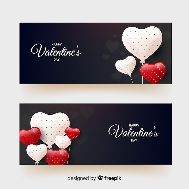 Dotted balloons valentine banner Free Vector