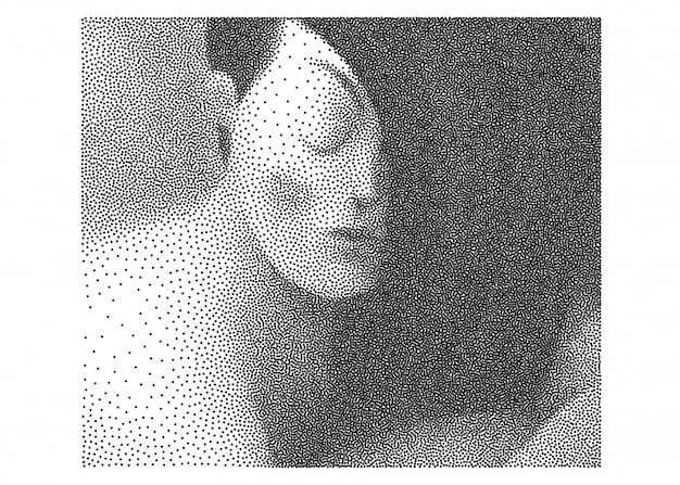 Dotted black and white portrait Premium Vector