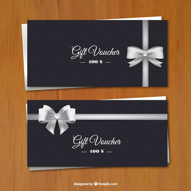 Dotted cards with silver loop Free Vector