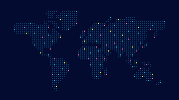 Dotted color world map Premium Vector