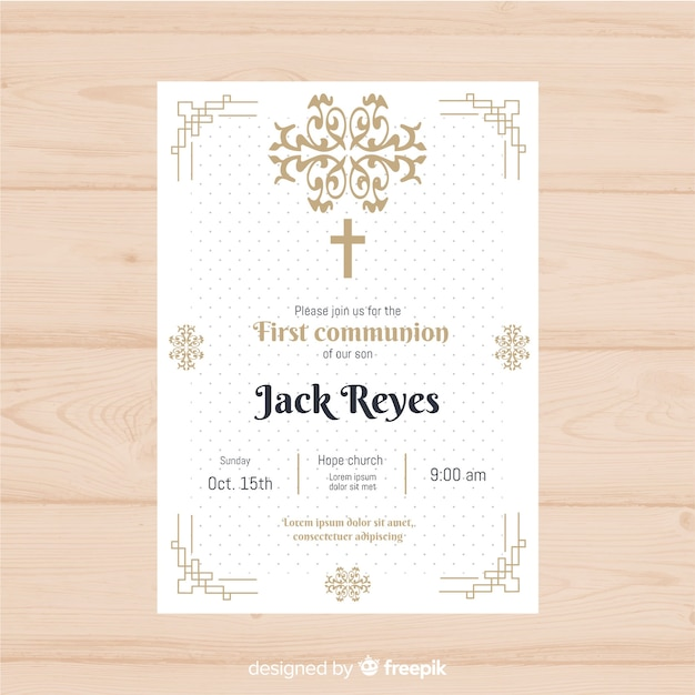Dotted first communion invitation Free Vector