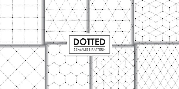 Dotted geometric seamless pattern collection, , decorative wallpaper. Premium Vector