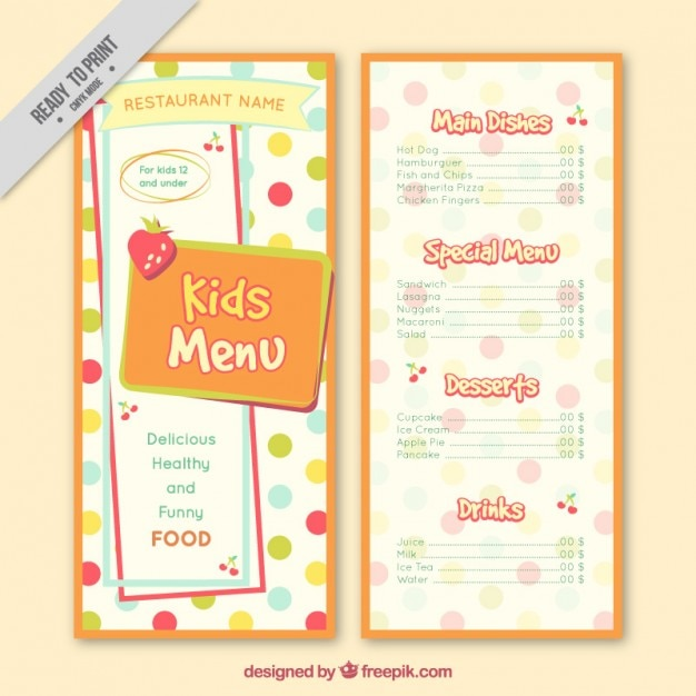 Dotted Kids Menu Template Free Vector  Free Kids Menu Templates