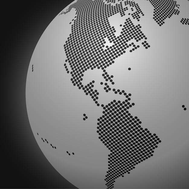 Пунктирный монохромный фон земного шара Premium векторы