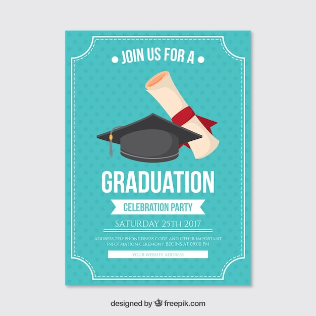 Dotted Party Poster With Graduation Cap And Diploma Vector