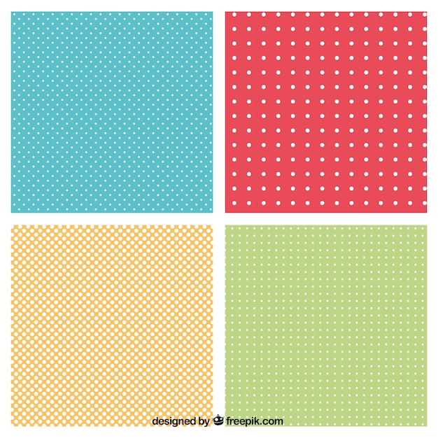 الگوهای نقطه چین در رنگ های مختلف