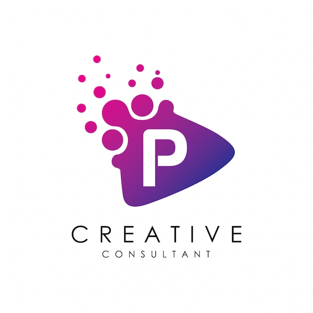 Dotted play letter p logo Premium Vector