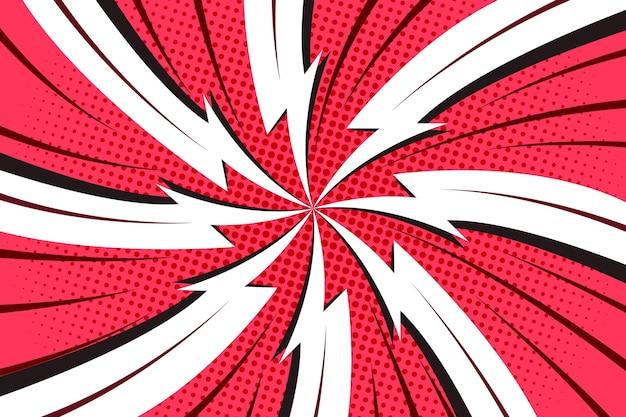 点線の赤と白のコミックスタイルの背景 無料ベクター