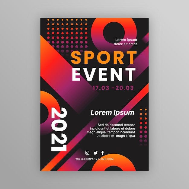 Modello di manifesto evento sportivo punteggiato Vettore gratuito