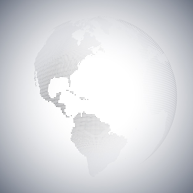 Dotted world globe Premium Vector