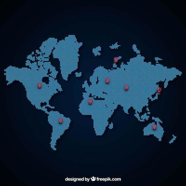 Dotted world map vector free download dotted world map free vector gumiabroncs Gallery