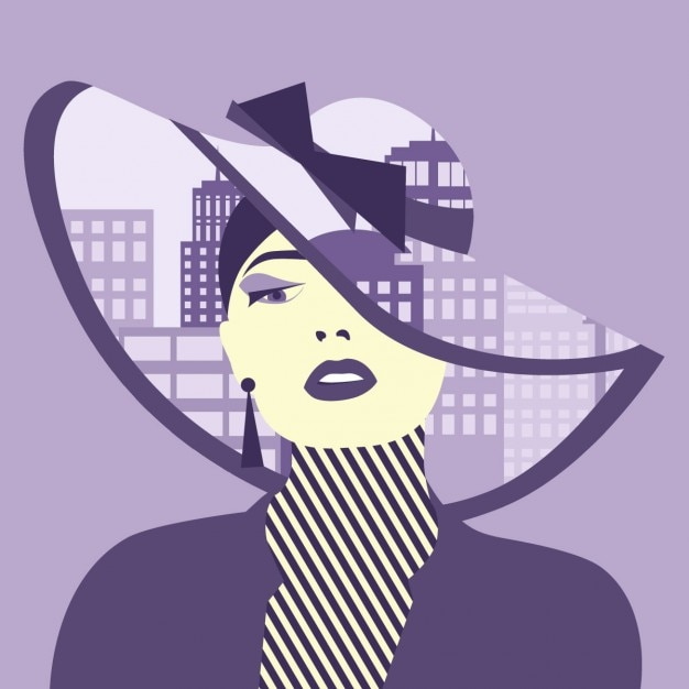 Double exposure illustration woman with city in her hat Free Vector