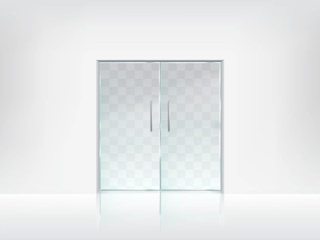 Charmant Double Glass Door Transparent Vector Template Free Vector
