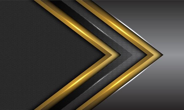 Double gold dark grey metallic arrow direction circle mesh futuristic background. Premium Vector
