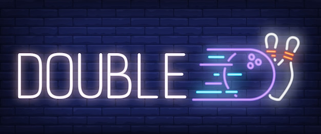 Double neon text with bowling strike Free Vector