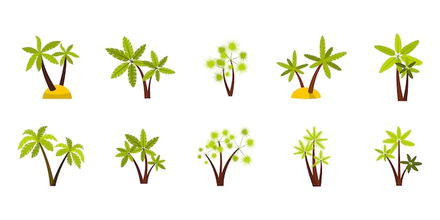 Double palm tree icon set. flat set of double palm tree vector icons collection isolated Premium Vector
