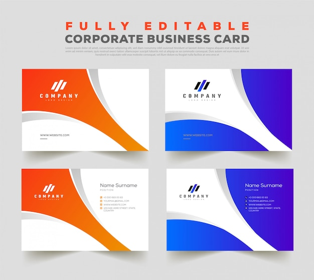 Double side front & back business card design template Premium Vector