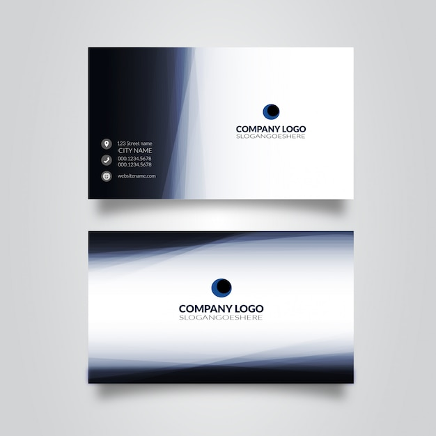 Double Sided Blue Business Card Template Vector Free Download
