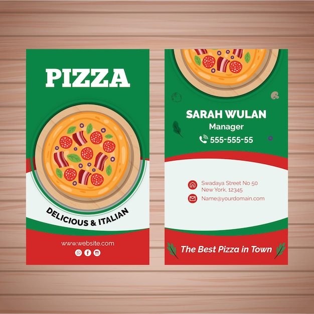 Double-sided business card for pizza bistro Free Vector
