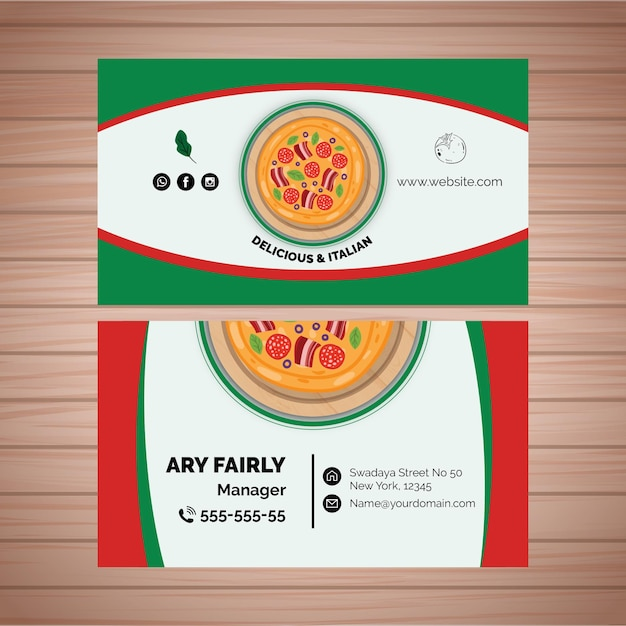 Double-sided business card template for pizza restaurant Free Vector