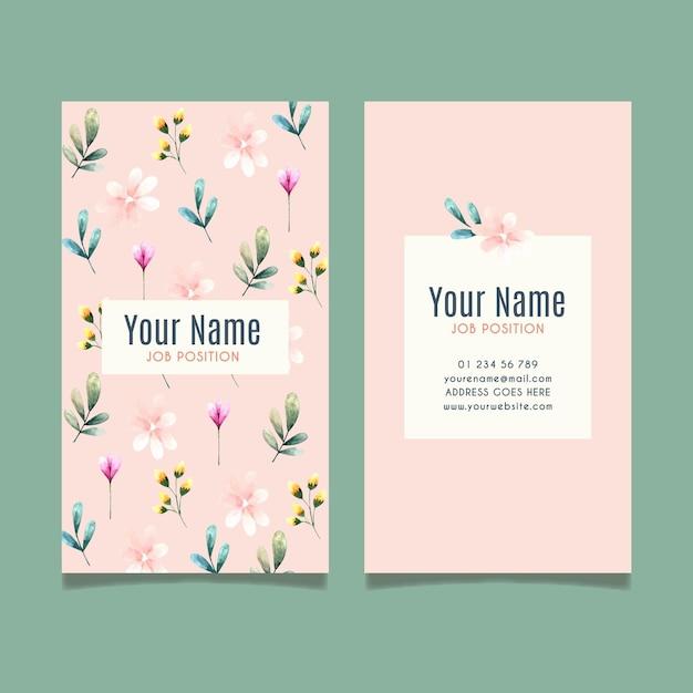 Шаблон двусторонней визитки с цветами Бесплатные векторы